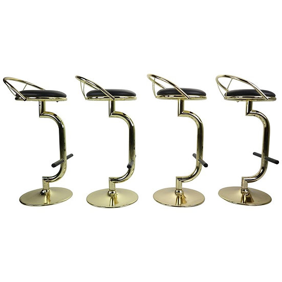 Set Of 4 Brass & Black Faux Leather Bar Stools, Hollywood Regency Period, 1970s