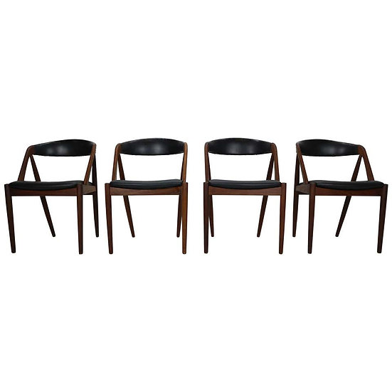 Kai Kristiansen Model 31 Set of 4 Teak 'a' Frame Chairs for Schou Andersen, 1960