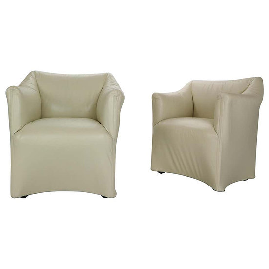 "Mario Bellini ""Tentazione"" Set of 2 Leather Lounge Armchairs for Cassina, 1970s"