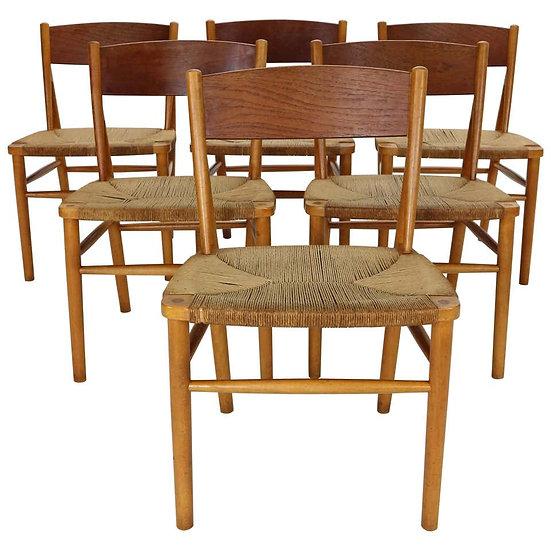 Børge Mogensen 'Model 157' Set of 6 Dinning Room Chairs for Søborg Møbler, 1950