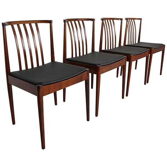 set of 4 Casala solid rosewood dining-room chairs, 1960s