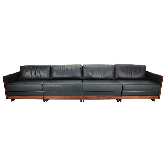 Black Leather 4-Seat Sofa by Afra & Tobia Scarpa for Cassina Model 920, 1960s