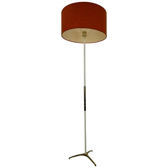 French Floor Lamp Brass and Metal, 1950s