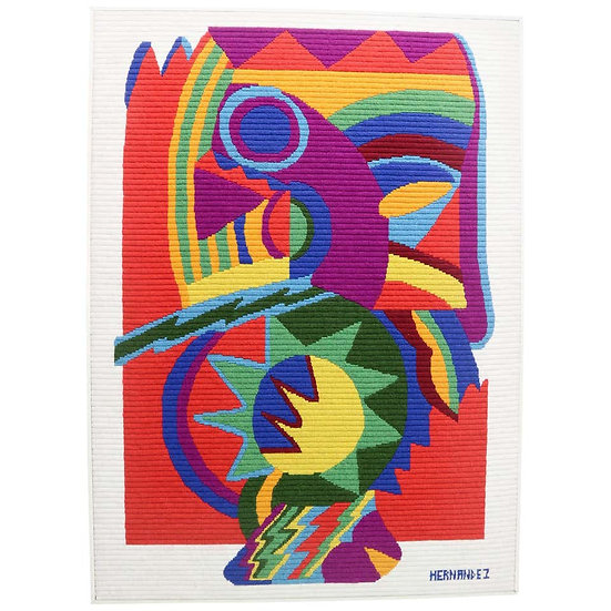 Midcentury Abstract Art Tapestry by Hernandez, 1970s