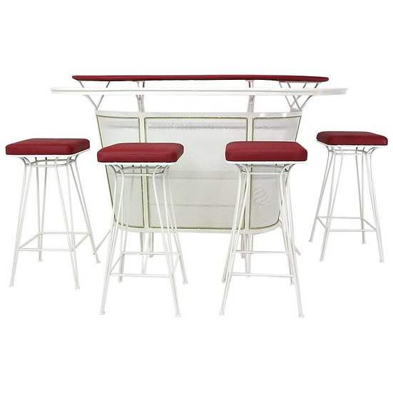 French 1950s Metal Perforated Cocktail Bar in the Style of Mategot