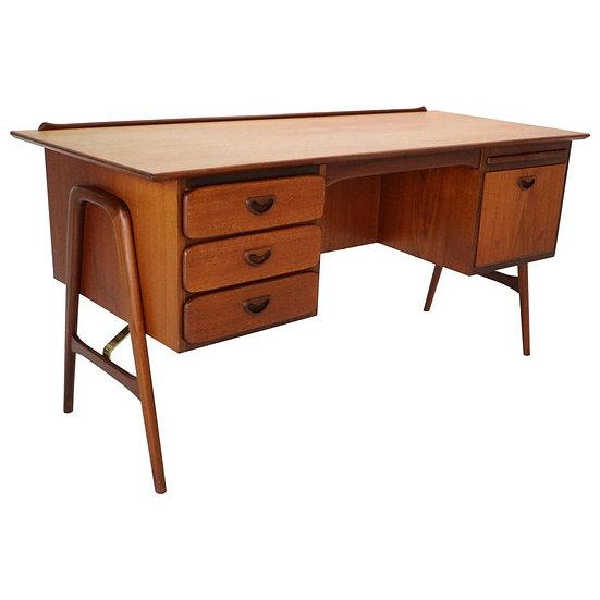 Teak and Brass Writting Table Desk by Louis Van Teeffelen for Wébé, 1959