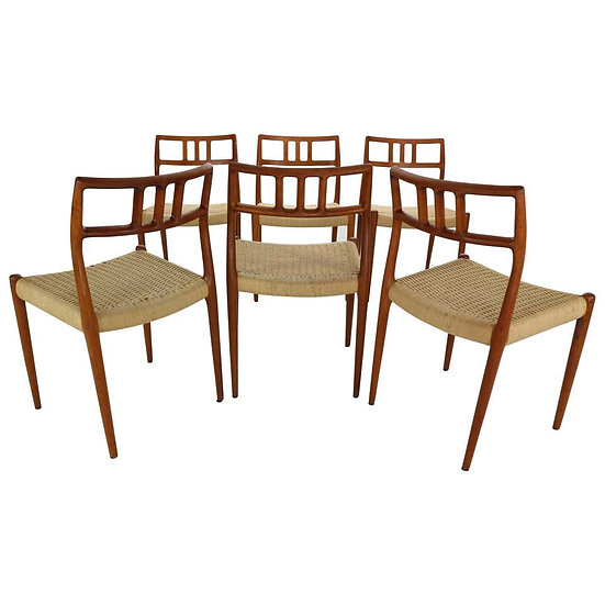 Niels Otto Møller for J.L. Møllers Set of 6 Model-79 Papercord Chairs, Denmark