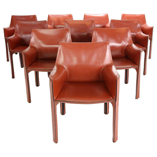 """Mario Bellini """"Cab-413"""" Set of 10 Leather Armchairs for Cassina, 1980s, Italy"""