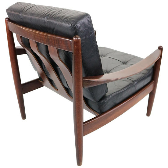 Leather Armchair in a Manner of Grete Jalk, 1960s
