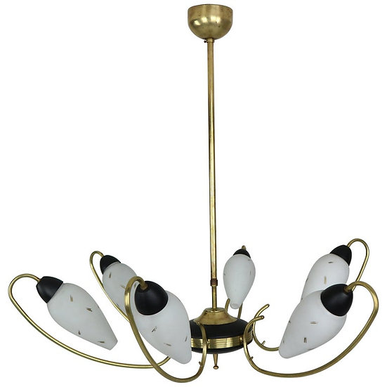 Brass and Black Enamel French Chandelier with Opal Glass, 1950