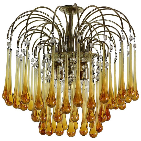 Vintage Murano Glass, Tear Drop Chandelier by Paolo Vanini, 1960, Italy