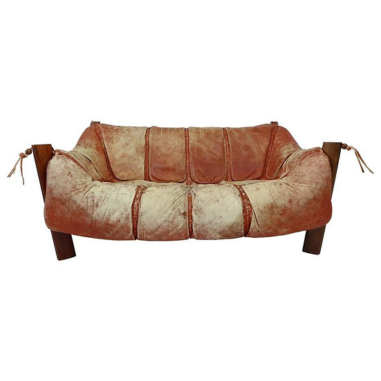 two-seater sofa MP-211 design by Percival Lafer in wood and leather, 1974