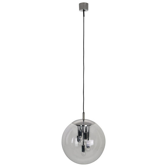 Large Sputnik Globe Pendant Lamp By Doria, Glass & Chrome, 1960s