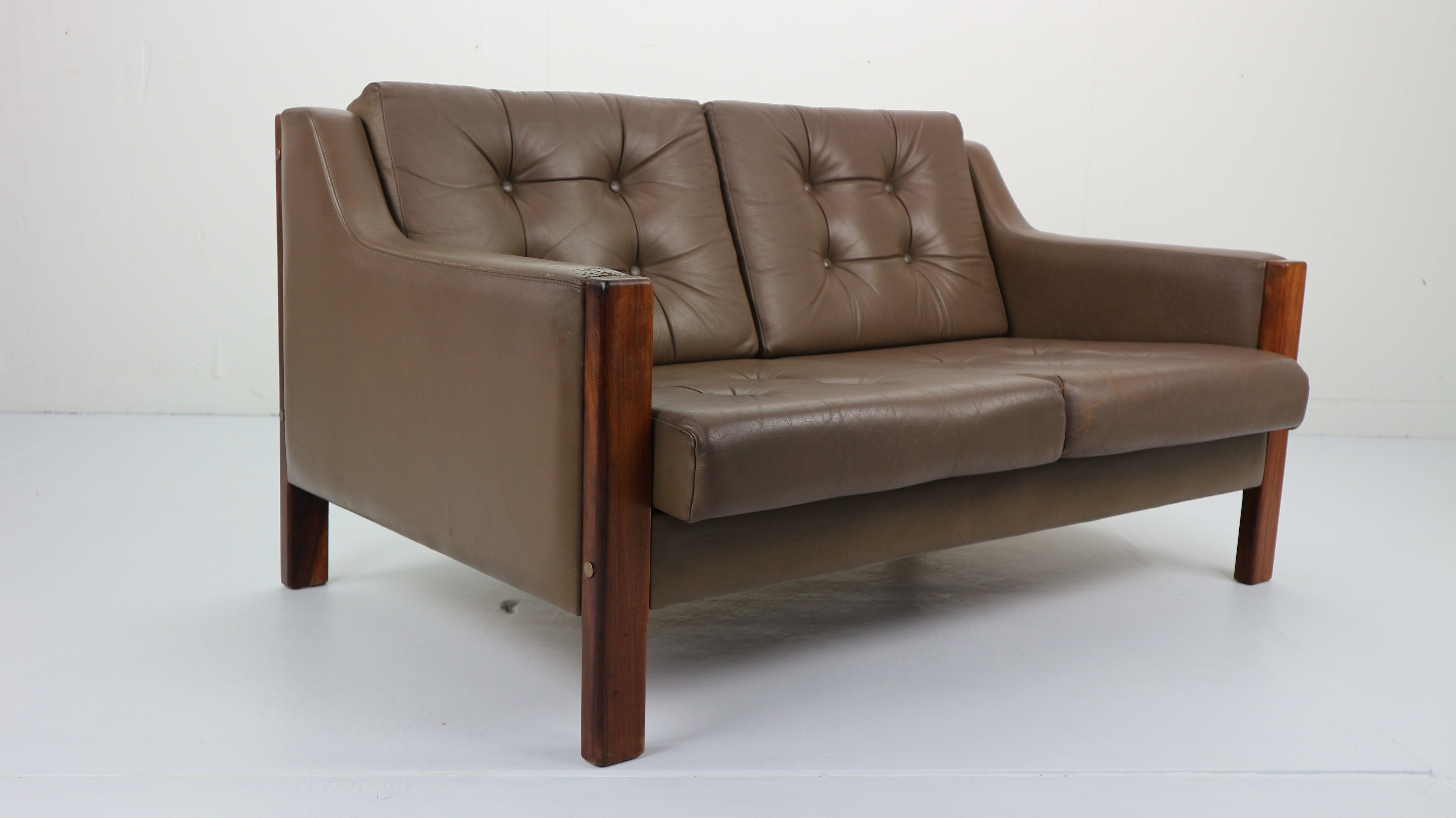 Scandinavian Mid Century Two Seater Leather Sofa Rosewood 1970 S