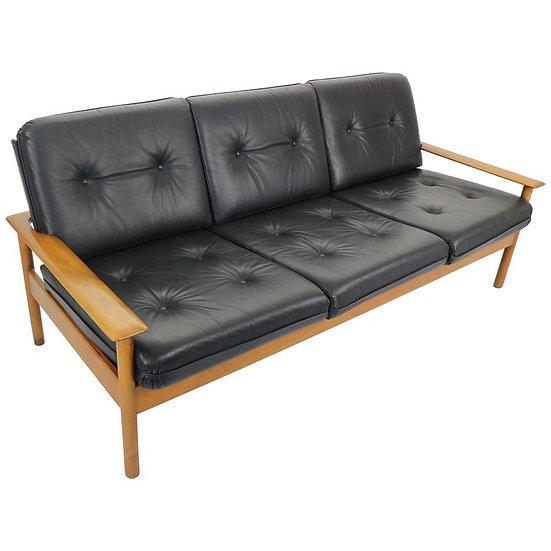 Mid-Century Modern Three-Seat Leather Sofa, Scandinavian Design, 1960s