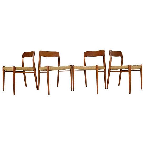 Niels Otto Møller Set of 4 Dinning Room Chairs Model 75, 1970s Denmark