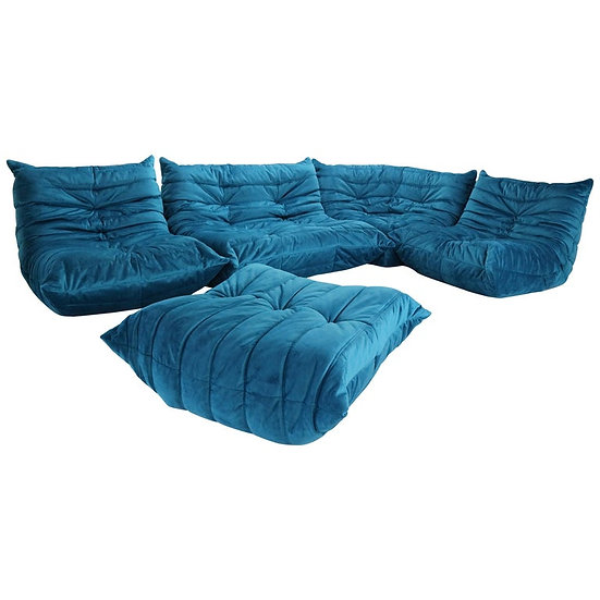 Blue Velvet Togo Sofa By Michel Ducaroy For Ligne Roset, Set of Five, 1973