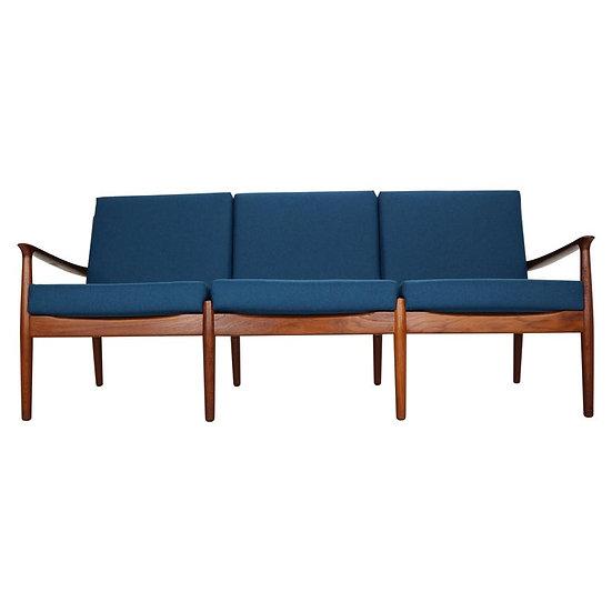Three-Seat Teak Sofa by Grete Jalk for Glostrup Møbelfabrik, 1960s, Denmark