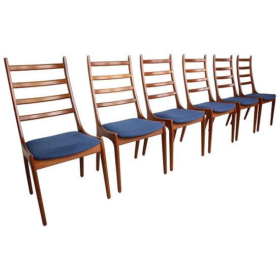6 Danish Modern Teak Ladder Back Dining Chairs by Kai Kristiansen, 1960s