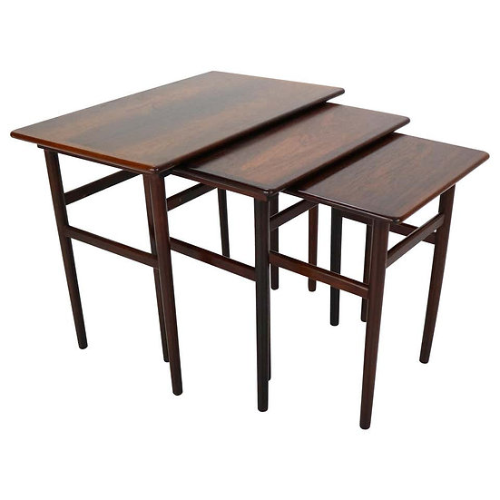 Set of Three Danish Midcentury Rosewood Nesting Tables, 1960s