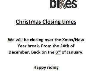 Christmas Closing Times.