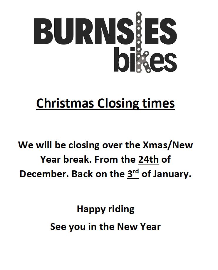 Burnsies Bikes Christmas Hours