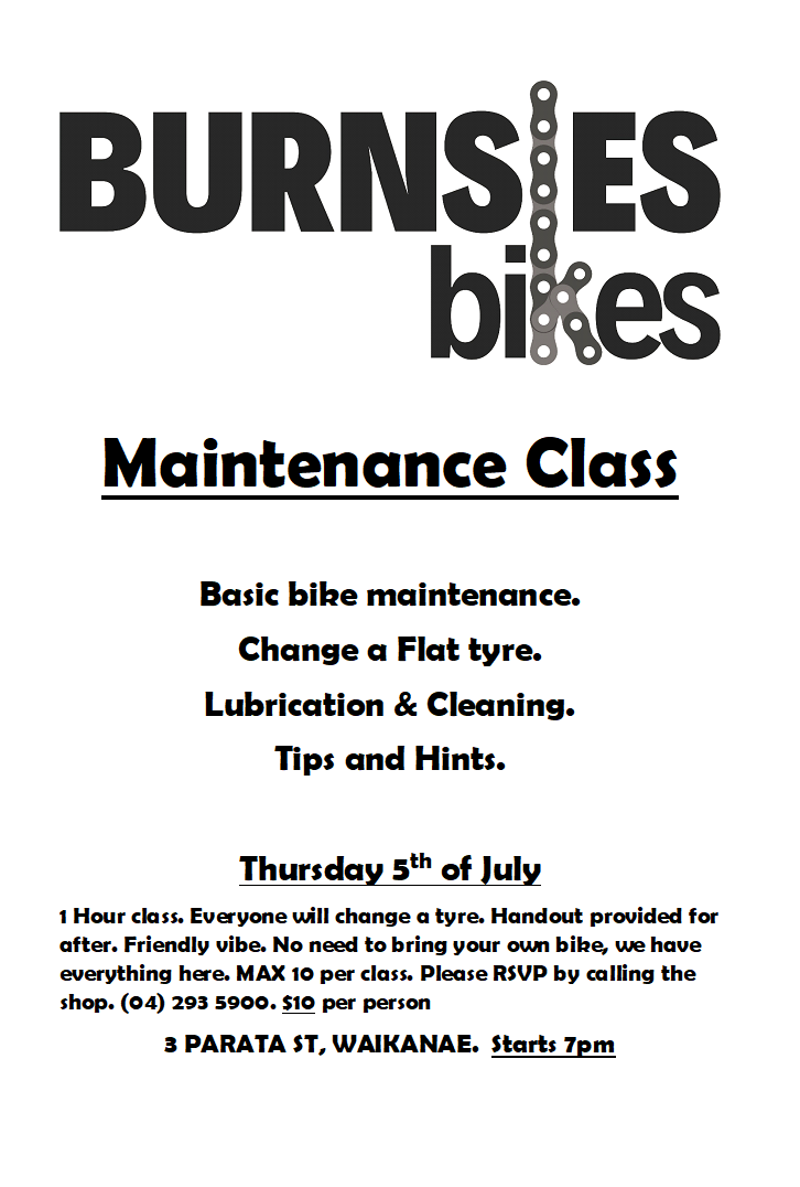 Bicycle Maintenance class Kapiti