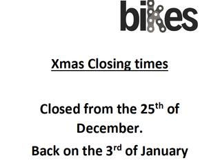 Xmas Closing Times