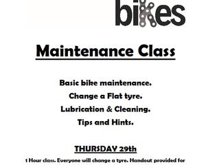 Burnsies Bikes Maintenance Class: June 29th