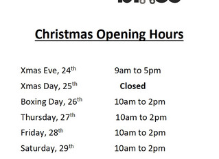 Xmas opening hours.