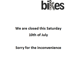 Closed this Saturday. See you Monday
