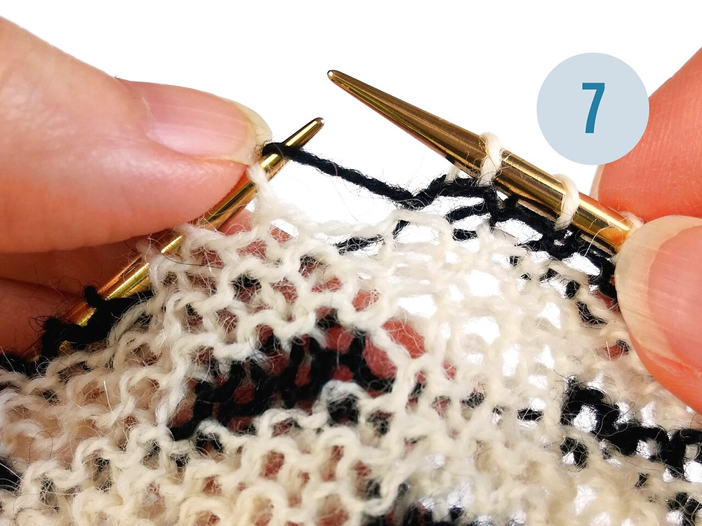 Step 7: Drop yarnover to the back of the work.