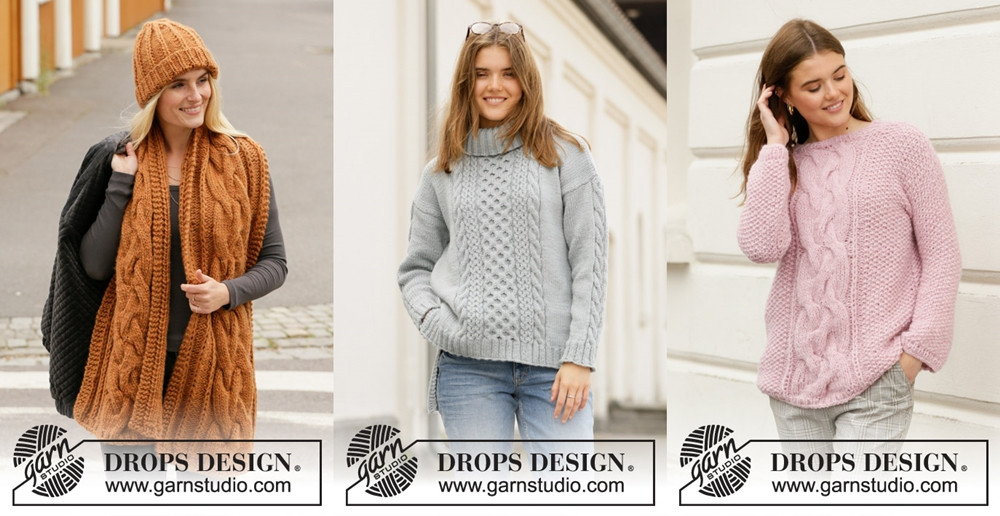 Cabled knitting patterns in the Garnstudio Fall/Winter 2019-2020 collection