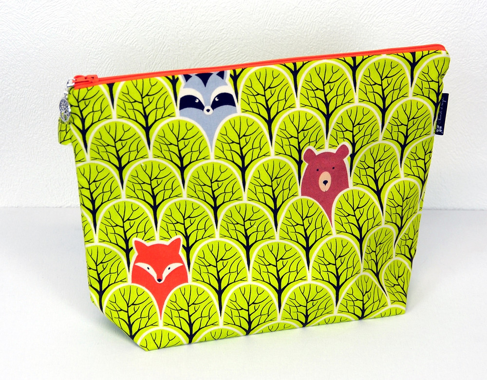 Zipper pouch with woodland animals