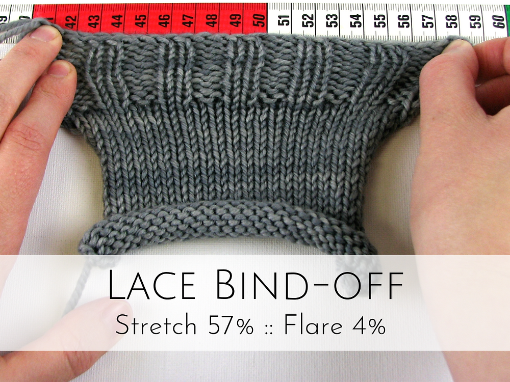 Lace Bind-off: 57% stretch, 4% flare