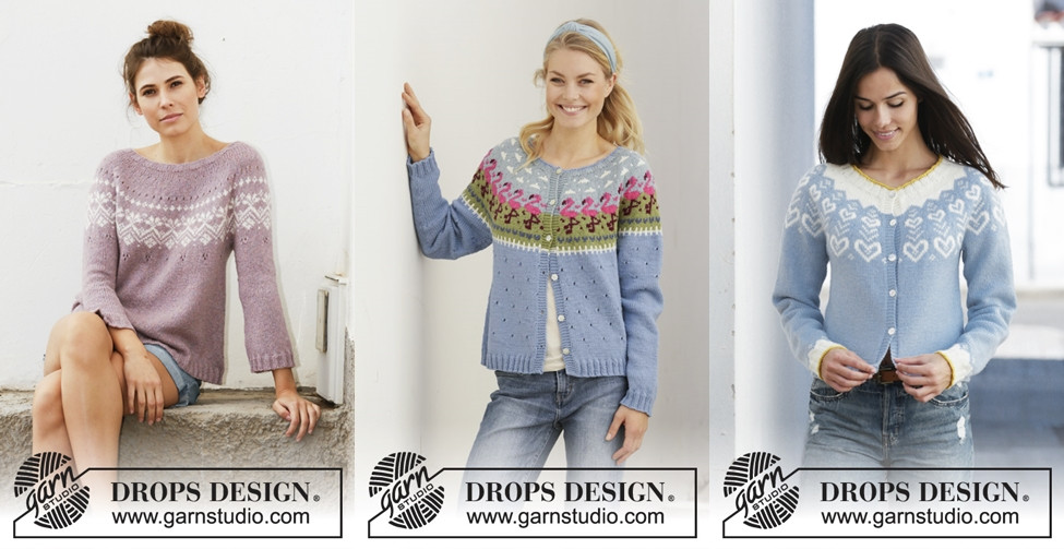 Colorwork yoke designs in the Garnstudio Spring/Summer 2019 collection
