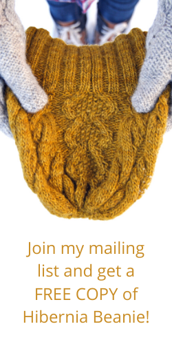 Join my mailing list and get a FREE copy of Hibernia Beanie