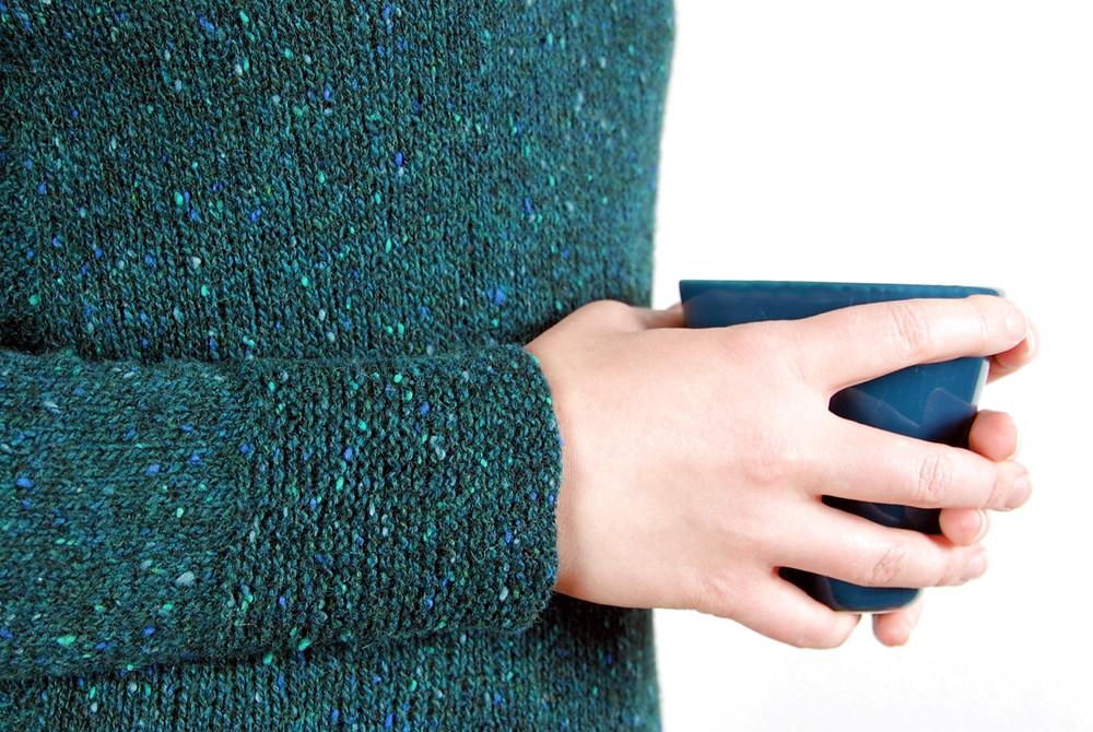 Deep garter stitch cuffs