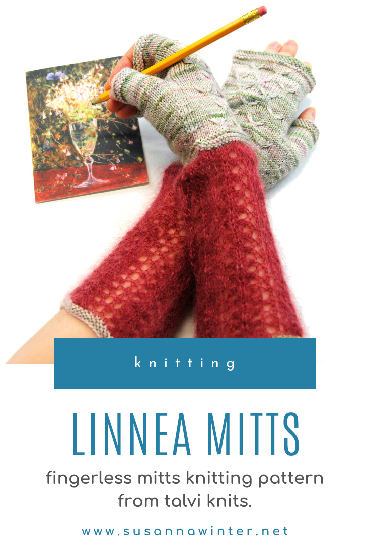 Linnea Mitts are feminine fingerless mitts that showcase different stitch patterns, textures, and yarn weights. The mitts are knit from the cuff up in the round. The delicate lace cuffs are knit in fluffy silk mohair, the hands in sturdy yet soft sock yarn with a dainty slip-stitch cable pattern on the back. The knitting pattern comes in three sizes and is written with both metric and US terminology. Both written and charted instructions are given for all stitch patterns. #knitting #knit