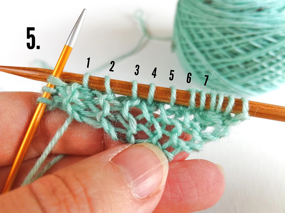 5. Pick up stitches from the long edge