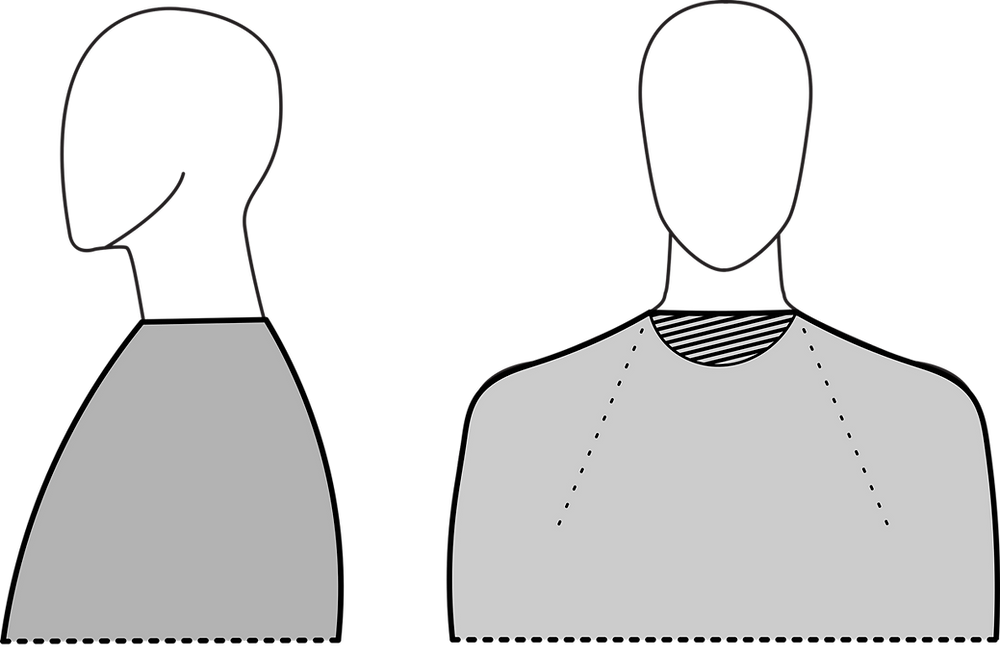 Raglan neckline is rectangular with a front neck that is too high and too straight.