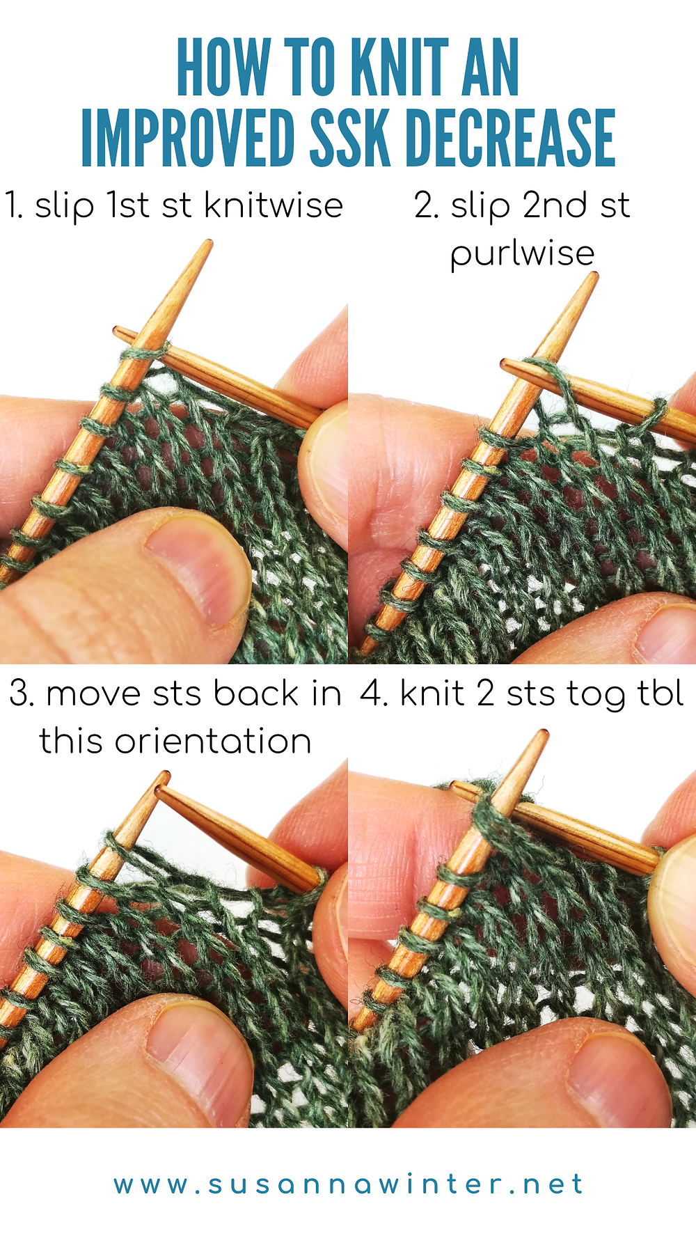 A four-step photo tutorial on how to knit an improved SSK decrease