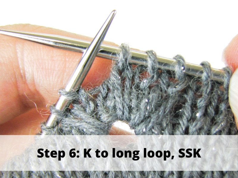 How to Knit Frost Flowers, step 6: K to long loop, SSK
