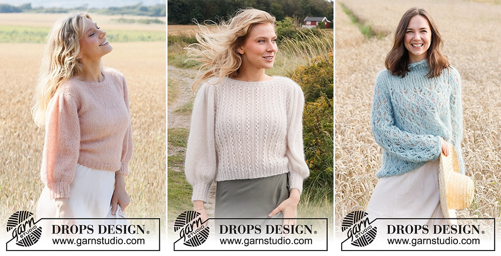 Sweaters knit with fluffy yarns on the Garnstudio Spring/Summer 2021 collection.