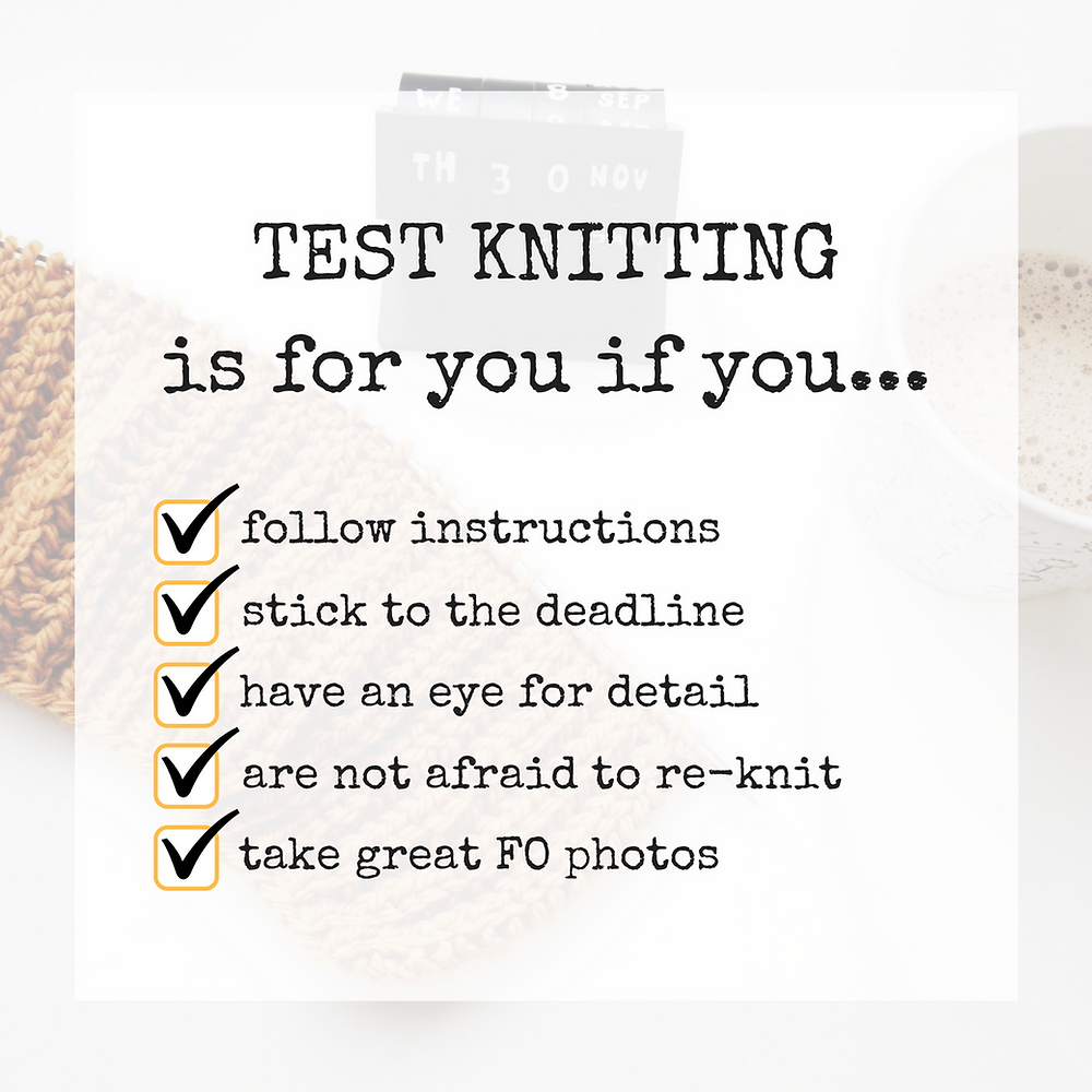 Test knitter's mind set
