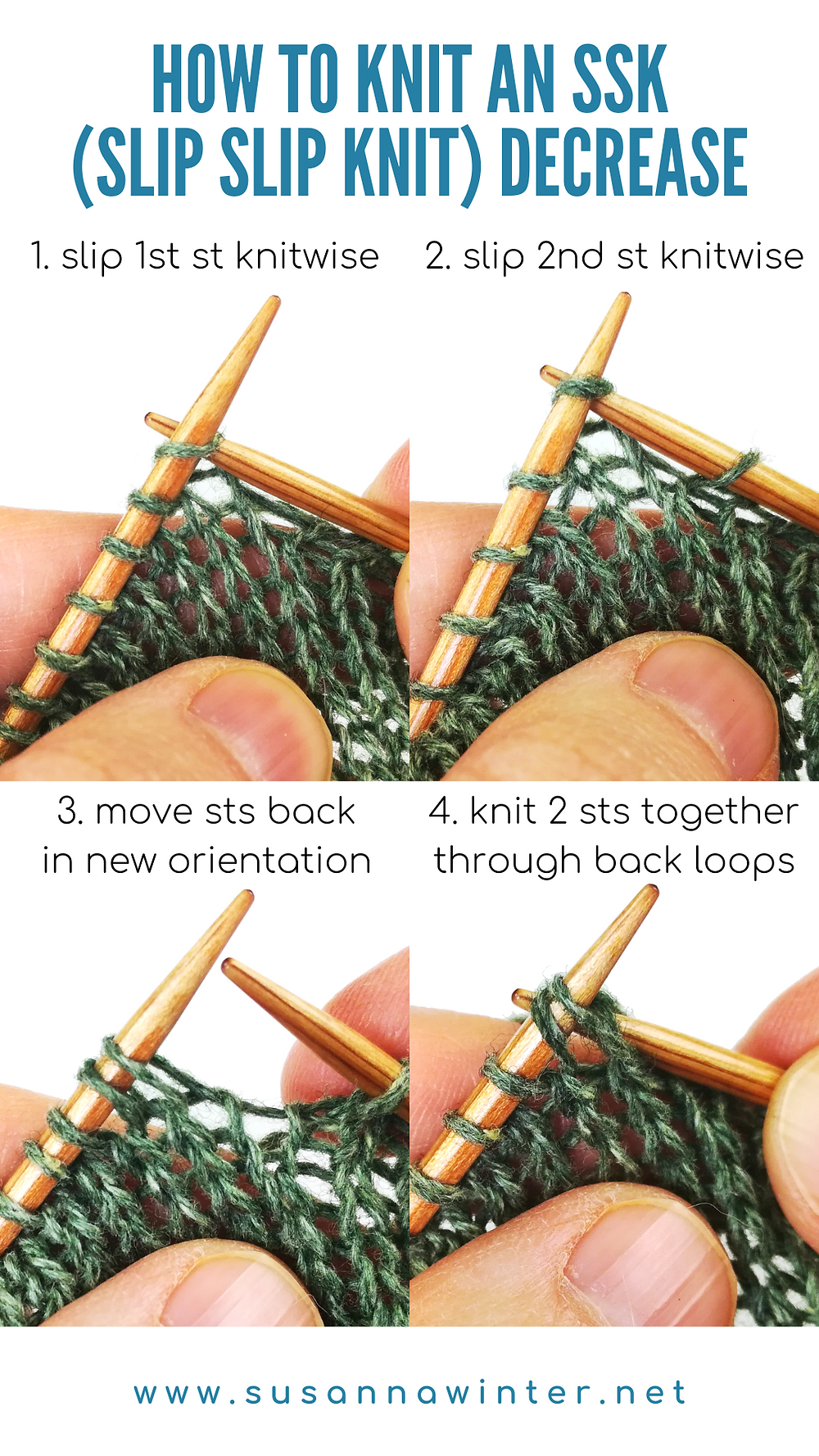 A four-step photo tutorial on how to knit an SSK (slip, slip, knit) decrease