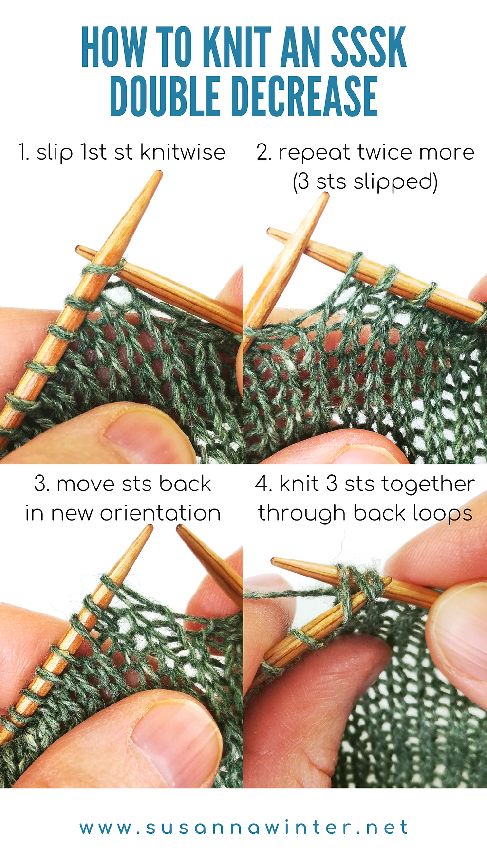 A four-step photo tutorial on how to an SSSK double decrease