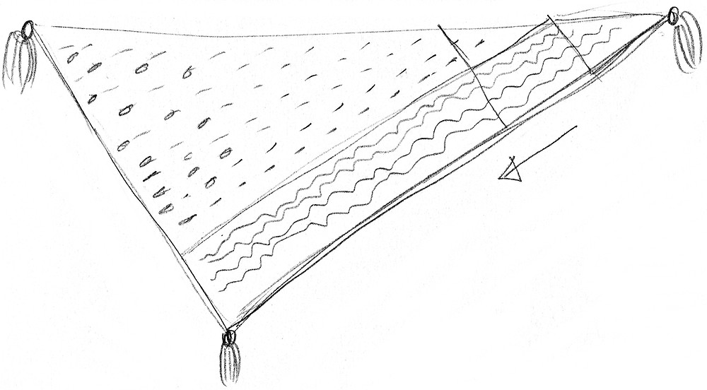A hand-drawn sketch of the Ardisia shawl.