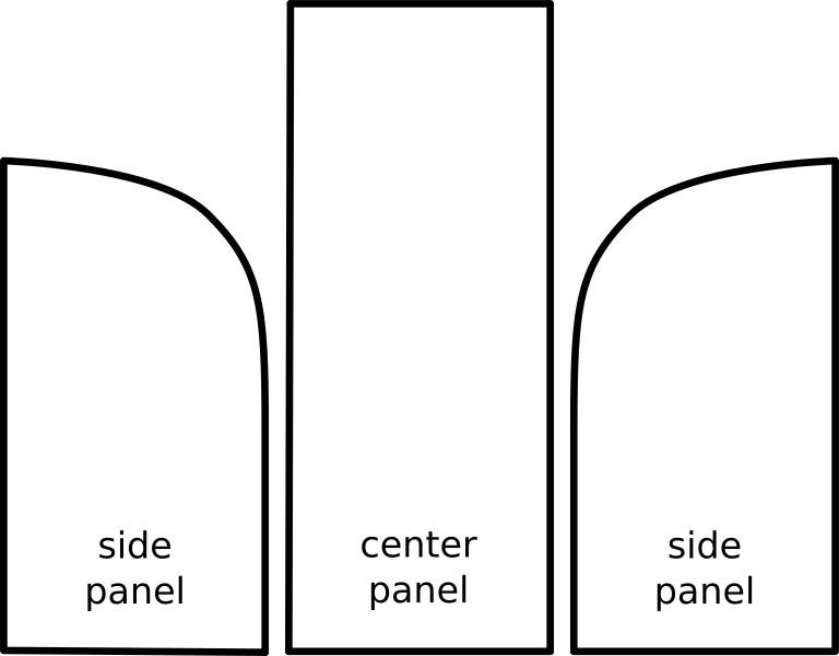 A three-piece hood is made of three separate panels.