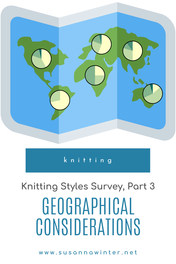 How do people knit in different parts of the world? In the third part of the results to the knitting styles survey I examine knitting styles, stitch mounts, and knitting direction across the globe. What's the most common knitting style in Europe? Where is the largest proportion of combination knitters located? Do knitters in every country knit from right to left? Find it out in this post. #knitting #knit #knittingtutorial #howtoknit #learntoknit #knittingstyles #continentalknitting